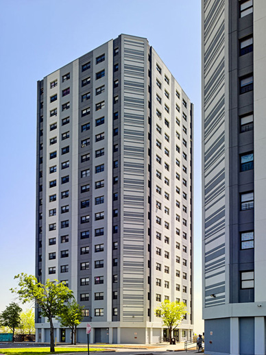 The building was overclad in 2017 with an EIFS continuous insulation system from Sto, which enhanced the aesthetics of the building as well as its energy efficiency.